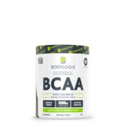 White and green container of Bodylogix Natural BCAA builds lean muscle with green apple flavour
