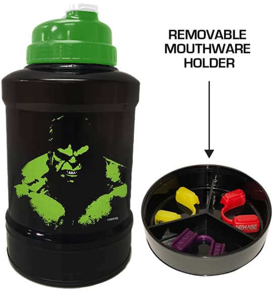 Black and green bottle of marvel power jug hulk shown with removable mouthware holder