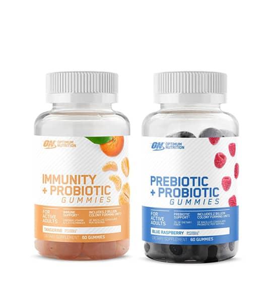 Optimum Nutrition combo deal Immunity + Probiotic (Tangerine) and Prebiotic + Probiotic (Blue Raspberry) gummies