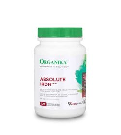 White bottle with green lid of Organika Your Natural Solution Absolute Iron 120 capsules for red blood cells