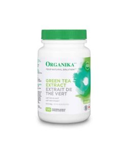 White bottle with green lid of Organika Your Natural Solution Green Tea Extract 120 capsule of antioxidant for weight loss