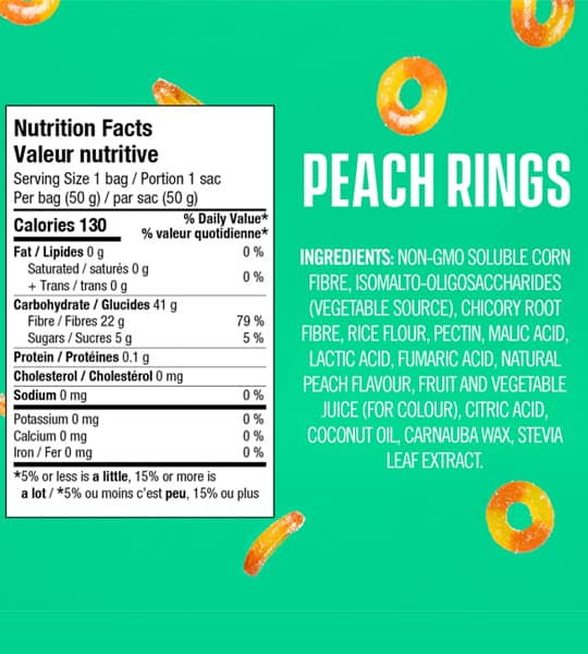 ingredient panel and nutritional facts for smart sweets peach rings vegan healthy candy snacks green background