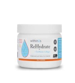 White and blue container with white lid of WithinUs ReHydrate Premium Electrolyte Powder contains 140 g