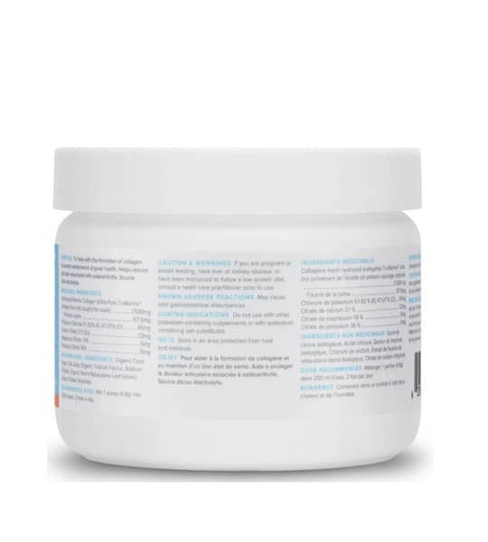 White container showing ingredients panel of withinUS ReHydrate TruMarine Collagen TROPICAL