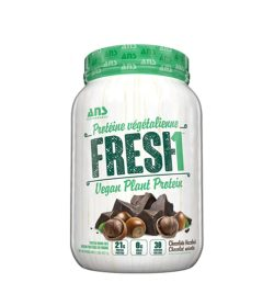 White and green container of ANS Fresh1 Vegan Plant Protein with chocolate hazelnut flavour and 21g protein per serving