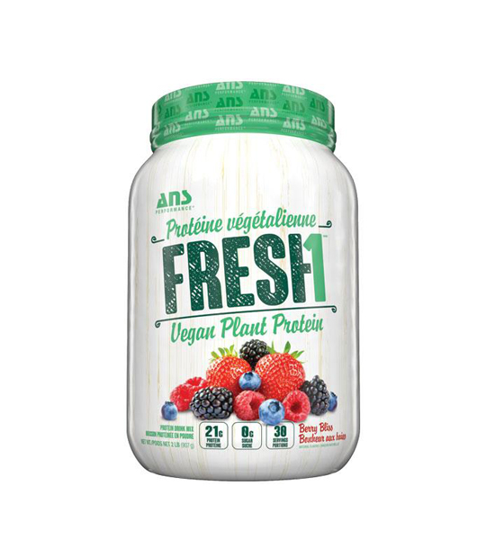 White and green container of ANS Fresh1 Vegan Plant Protein with berry bliss flavour and 21g protein per serving