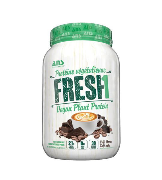 White and green container of ANS Fresh1 Vegan Plant Protein with cafe flavour contains 21g protein per serving