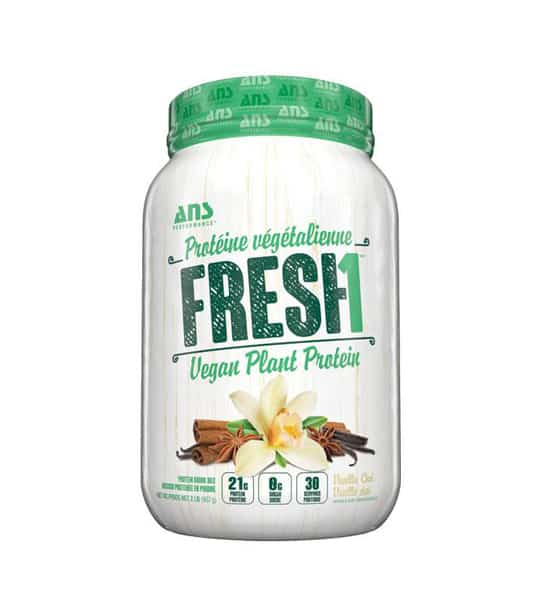 White and green container of ANS Fresh1 Vegan Plant Protein shows some of the ingredients on the label