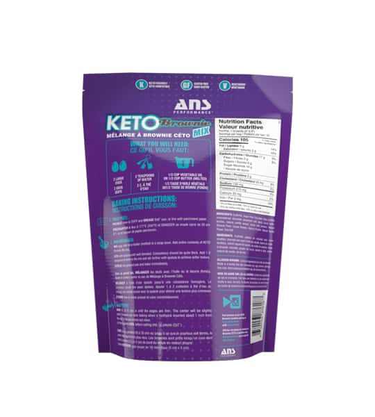 Purple bag showing back side of ANS Performance Keto Brownie Mix