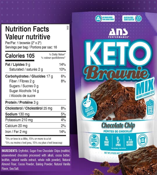 Nutrition facts and ingredients panel of ANS Performance Keto Brownie Mix for serving size of 1 bag