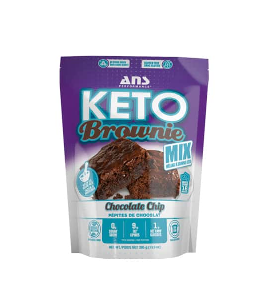 Purple and white bag of Keto Brownie Mix with Chocolate Chip flavour shown in white background