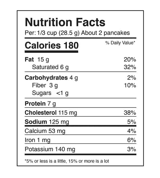 Nutrition facts panel of ANS Performance Keto Pancake Mix for serving size of 1/3 cup (28.5 g)
