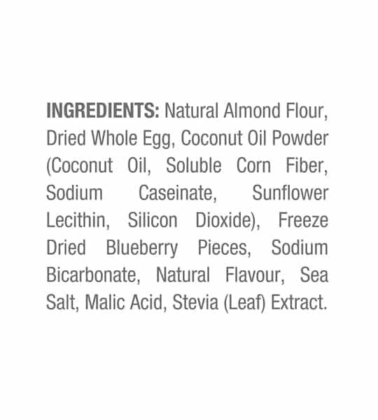 Ingredients panel of ANS Performance Keto Pancake Mix