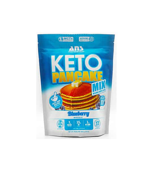 White and blue bag of Keto Pancake Mix with Blueberry flavour shown in white background