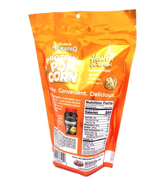 Back side of orange bag of Allmax Hexapro Protein Popcorn 110g shown in white background