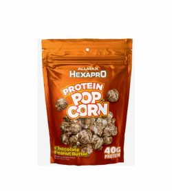 A glossy orange bag of Allmax Hexapro Protein Pop Corn with Chocolate peanut butter flavour contains 40g protein