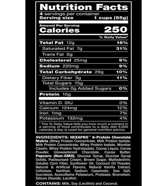 Nutrition facts and ingredients panel of Allmax Hexapro Protein Popcorn for serving size of 1 cup (55 g)