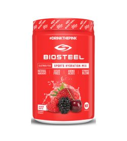 Red container of BIOSTEEL Sports Hydration Mix Sugar Free Amino Acids MixedBerry