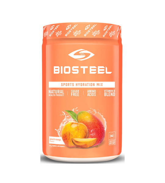 Orange container of BIOSTEEL Sports Hydration Mix Sugar Free Amino Acids with Peach Mango falvour
