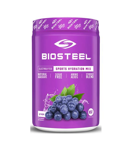 Purple container of BIOSTEEL Sports Hydration Mix Sugar free Amino Acids grape