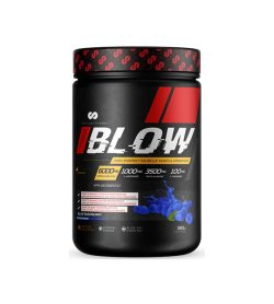 Black and red container of BLOW Pre Workout contains 385 g