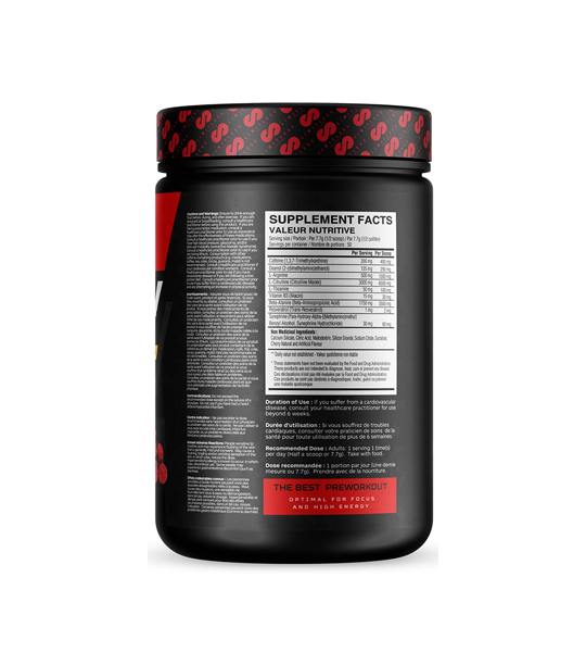 Black container showing supplement facts panel side of BLOW Pre Workout