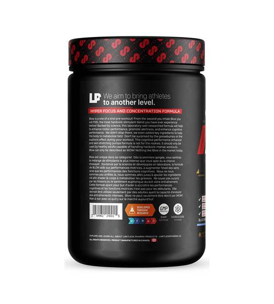 Black container showing usage panel side of BLOW Pre Workout