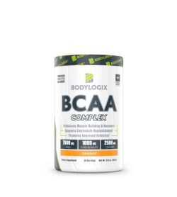 White and green container of Bodylogix BCAA complex with orange flavour shown in white background
