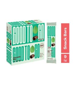Green Box of Good To Go Chocolate Mint snack bars shown along with a pouch of 9 pack