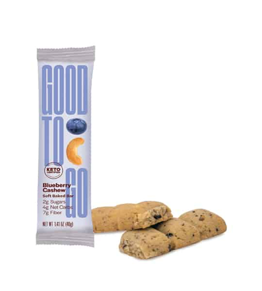 One pouch of Good to Go Blueberry Cashew Soft Baked Bar contains 2g sugars, 4g net carbs, and, 7g fiber