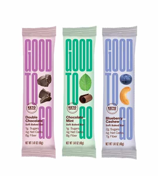 3 pouchs of Good to Go Blueberry Cashew, Double Chocolate, and, Chocolate Mint Soft Baked Bar contains 2g sugars, 4g net carbs, and, 7g fiber