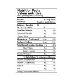 Nutrition facts panel of Inka MACA for a serving size of 5g contains total 124g