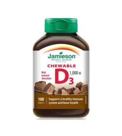 Brown bottle of Jamieson Vitamin-D3 Chewable 1000IU 100 tablets with rich natural chocolate flavour