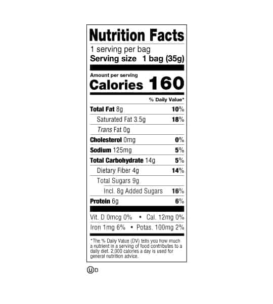 Nutrition facts panel of Lenny&Larrys The Complete Crunchy Cookies for serving size of 1 bag (35 g)