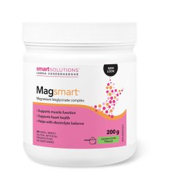 One white and pink bottle of Lorna MagSmart Magnesium bisglycinate complex Powder 30Servings lemon line flavour