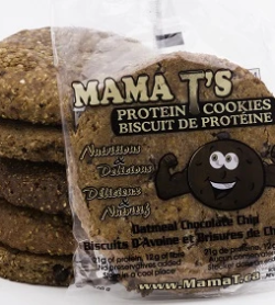 Cookies shown inside and outside of pouch of Mama T's Protein Cookies