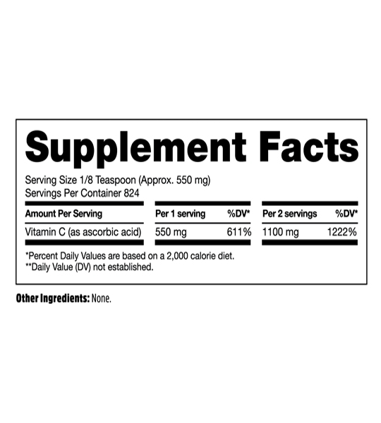Supplement facts panel of North Coast Naturals Pure Immuno C for serving size of 550mg