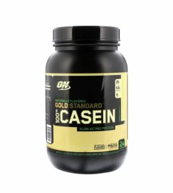 Black container with black cap of Optimum Nutrition Gold Standard 100% Casein slow acting protein