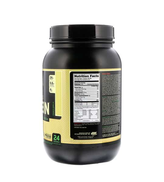 Nutrition facts shown in back panel of Optimum Nutrition Casein containing 2lbs with French vanilla in black container