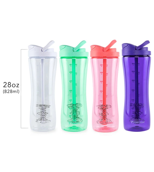 4 bottles of white, green, pink, and, purple color of Performa Luma Shaker Bottles 828 ml