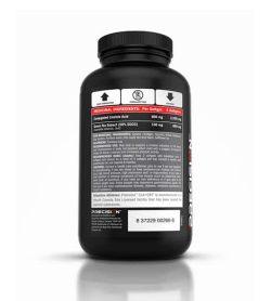 Back side of black bottle of Precision CLA+GTX softgels