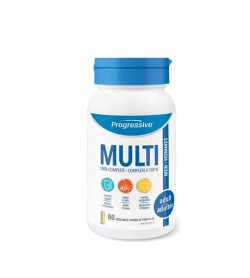 White bottle with blue cap of Progressive Multi 100% complete Men Adult contains 60 vegetable capsules