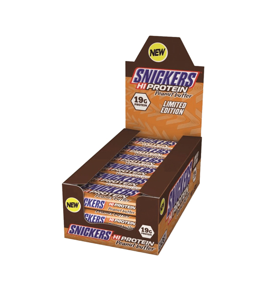 Brown box of Snickers HiProtein with Peanut Butter flavour contains 19g protein each shown in white background