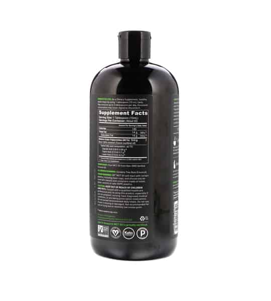 Black bottle back size of Sports Research MCT-Oil-946ml shown in white background