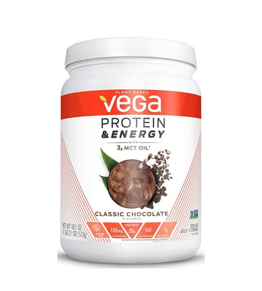 White and orange container of Vega Protein and Energy 513g with Classic Chocolate flavour