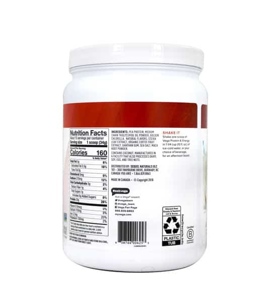 Backside showing nutrition facts panel of Vega Protein and Energy 510g vanilla-bean shown in white background