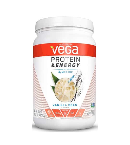 White and orange container of Vega Protein and Energy 510g with Vanilla Bean flavour shown in white background