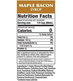 Nutrition facts and ingredients panel of Walden Farms Maple Bacon Syrup for serving size of 1/4 cup (60 ml)