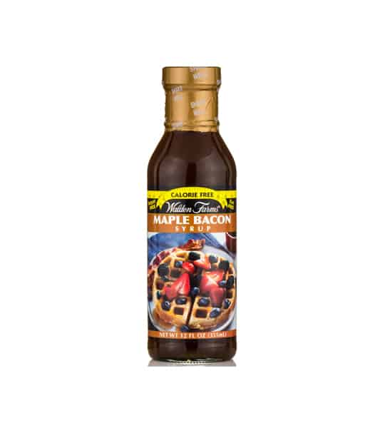 Brown bottle with gold cap of Walden Farms Maple Bacon Syrup calorie free shown in white background
