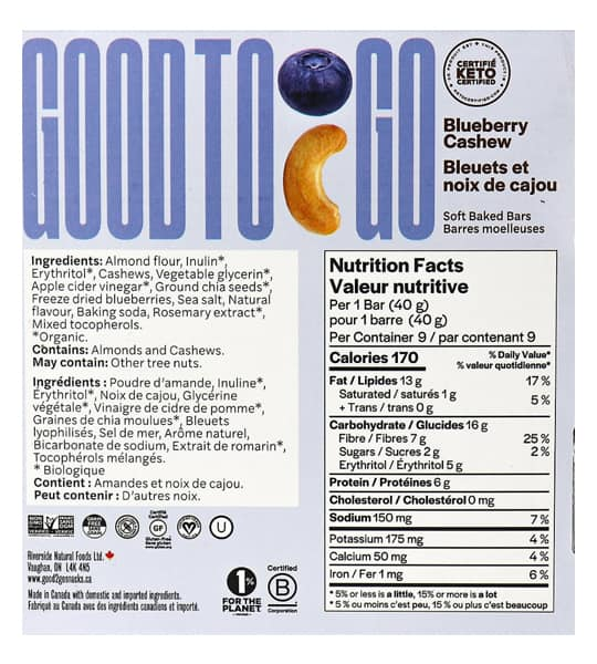 Nutrition facts and ingredients panel of Good To Go Blueberry Cashew Snack bar for serving size of 1 bar (40 g)